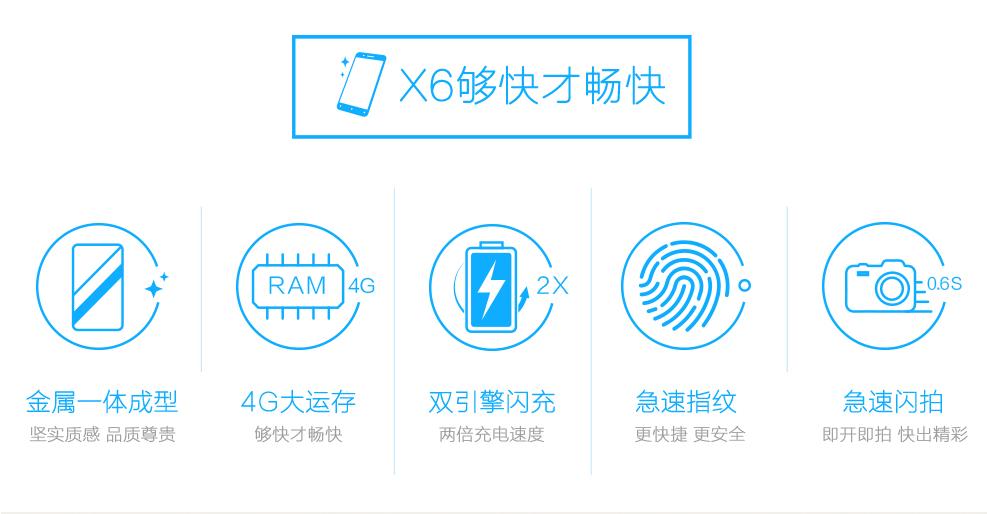 vivo x6 移动联通双4g版 金色 32g-手机要分期就来麦
